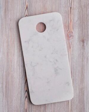 Tabla de mármol blanco rectangular con agujero grande para colgar